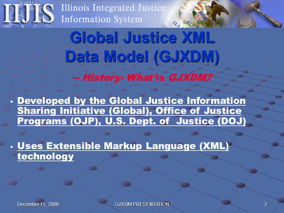2December 15, 2006GJXDM PRESENTATION Global Justice XML Data Model (GJXDM) -- History- What is GJXDM? Developed by the Global Justice Information Shar