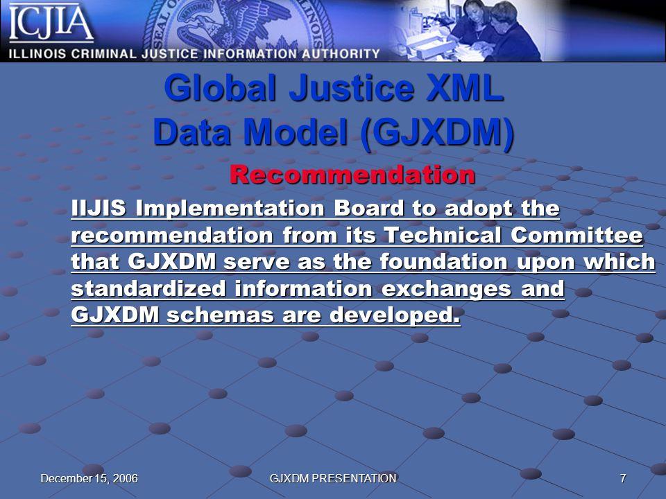 7December 15, 2006GJXDM PRESENTATION Global Justice XML Data Model (GJXDM) Recommendation IIJIS Implementation Board to adopt the recommendation from