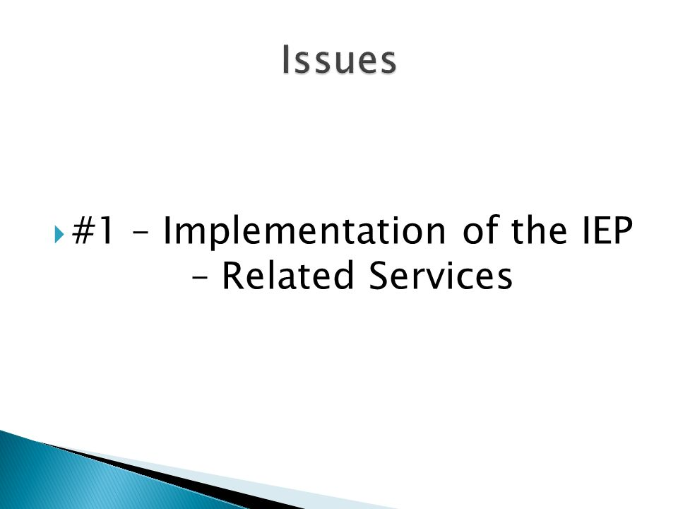 #1 – Implementation of the IEP – Related Services