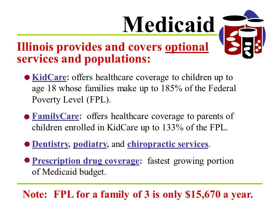 Medicaid The federal government mandates that all states provide basic healthcare for the following low-income individuals: Elderly over age 65 Blind and Disabled Children up to age 18 Pregnant Women
