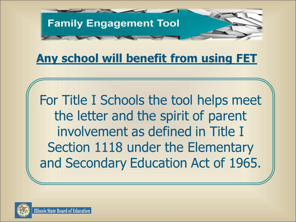 For Title I Schools the tool helps meet the letter and the spirit of parent involvement as defined in Title I Section 1118 under the Elementary and Secondary Education Act of 1965.