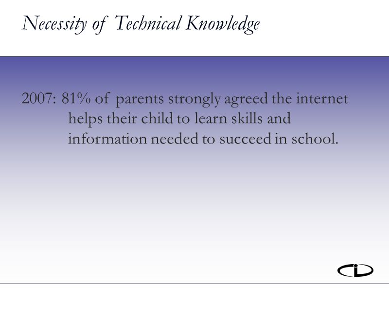 Necessity of Technical Knowledge 2007: 81% of parents strongly agreed the internet helps their child to learn skills and information needed to succeed in school.