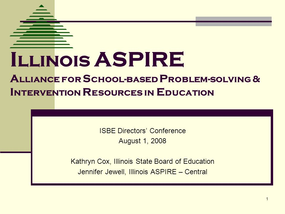 1 I llinois ASPIRE A lliance for S chool-based P roblem-solving & I ntervention R esources in E ducation ISBE Directors Conference August 1, 2008 Kath