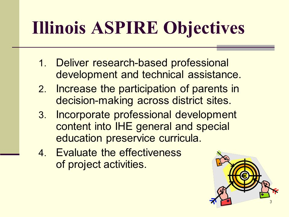 3 Illinois ASPIRE Objectives 1. Deliver research-based professional development and technical assistance. 2. Increase the participation of parents in