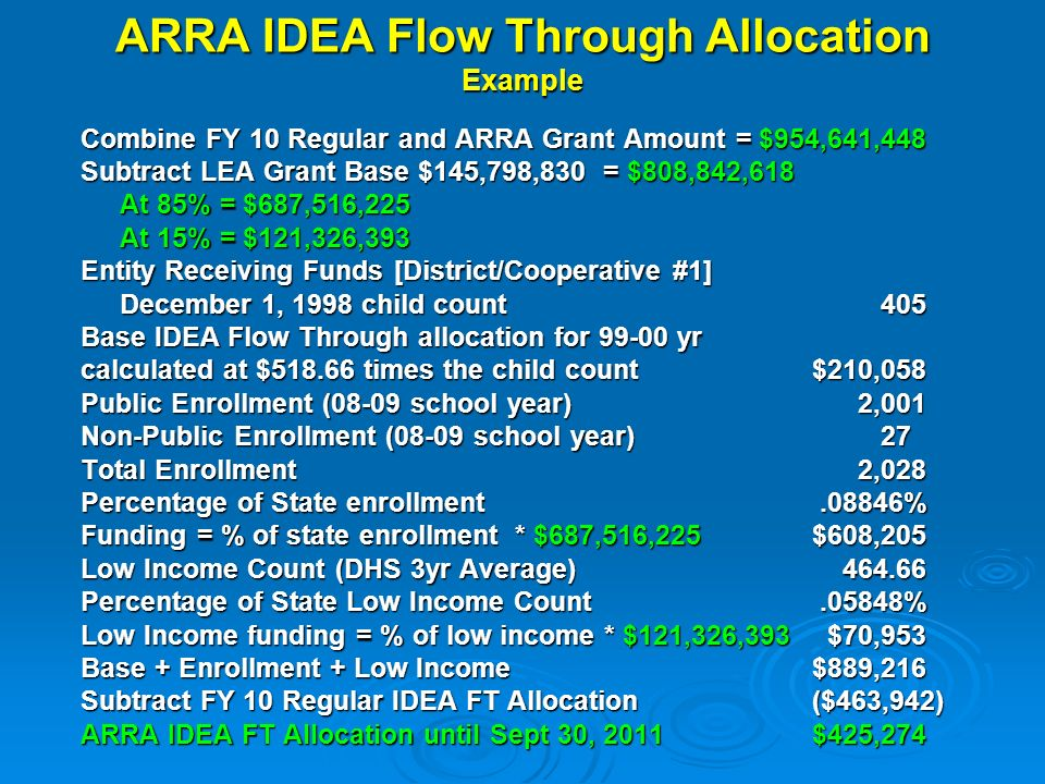 ARRA IDEA Flow Through Allocation Example Combine FY 10 Regular and ARRA Grant Amount = $954,641,448 Subtract LEA Grant Base $145,798,830 = $808,842,618 At 85% = $687,516,225 At 15% = $121,326,393 Entity Receiving Funds [District/Cooperative #1] December 1, 1998 child count 405 Base IDEA Flow Through allocation for 99-00 yr calculated at $518.66 times the child count$210,058 Public Enrollment (08-09 school year) 2,001 Non-Public Enrollment (08-09 school year) 27 Total Enrollment 2,028 Percentage of State enrollment.08846% Funding = % of state enrollment * $687,516,225$608,205 Low Income Count (DHS 3yr Average) 464.66 Percentage of State Low Income Count.05848% Low Income funding = % of low income * $121,326,393 $70,953 Base + Enrollment + Low Income$889,216 Subtract FY 10 Regular IDEA FT Allocation($463,942) ARRA IDEA FT Allocation until Sept 30, 2011 $425,274