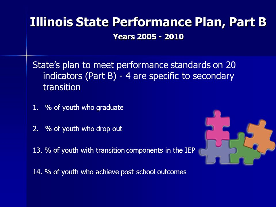 Illinois State Performance Plan, Part B Years 2005 - 2010 States plan to meet performance standards on 20 indicators (Part B) - 4 are specific to seco