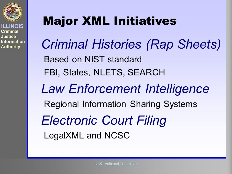 Illinois Criminal Justice Information Authority IIJIS Technical Committee Criminal Histories (Rap Sheets) Based on NIST standard FBI, States, NLETS, S