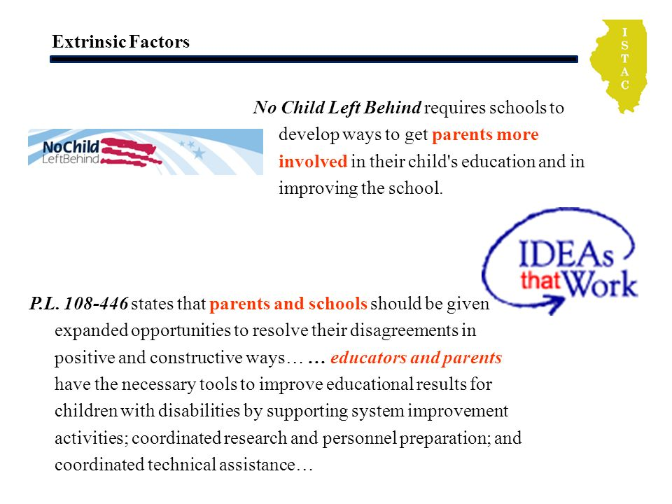 Extrinsic Factors No Child Left Behind requires schools to develop ways to get parents more involved in their child s education and in improving the school.