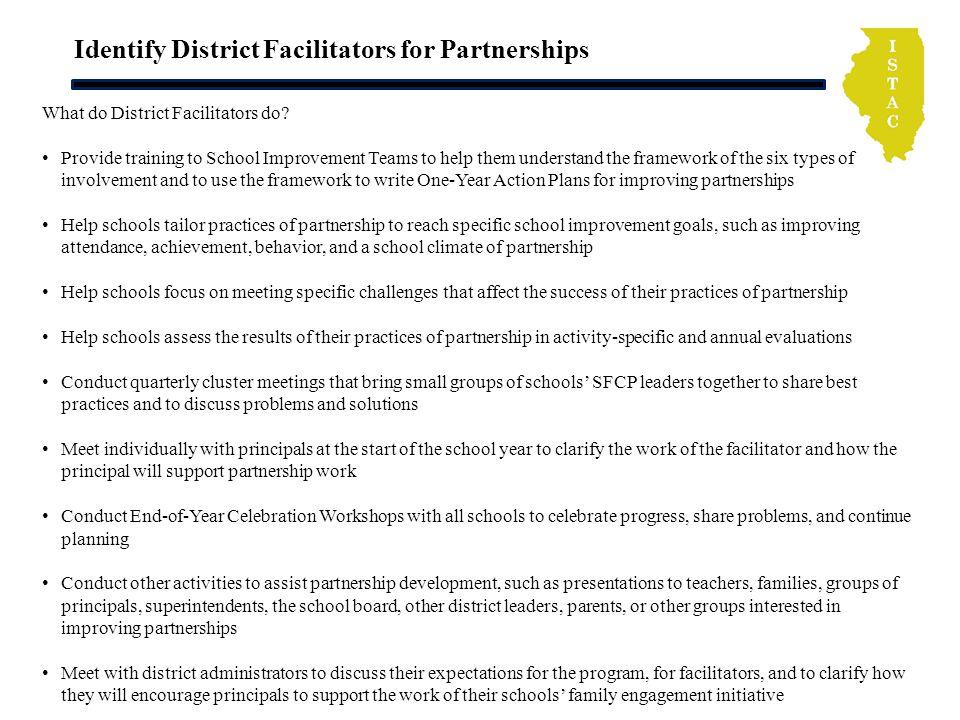 Identify District Facilitators for Partnerships What do District Facilitators do.