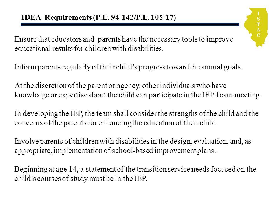 IDEA Requirements (P.L. 94-142/P.L.
