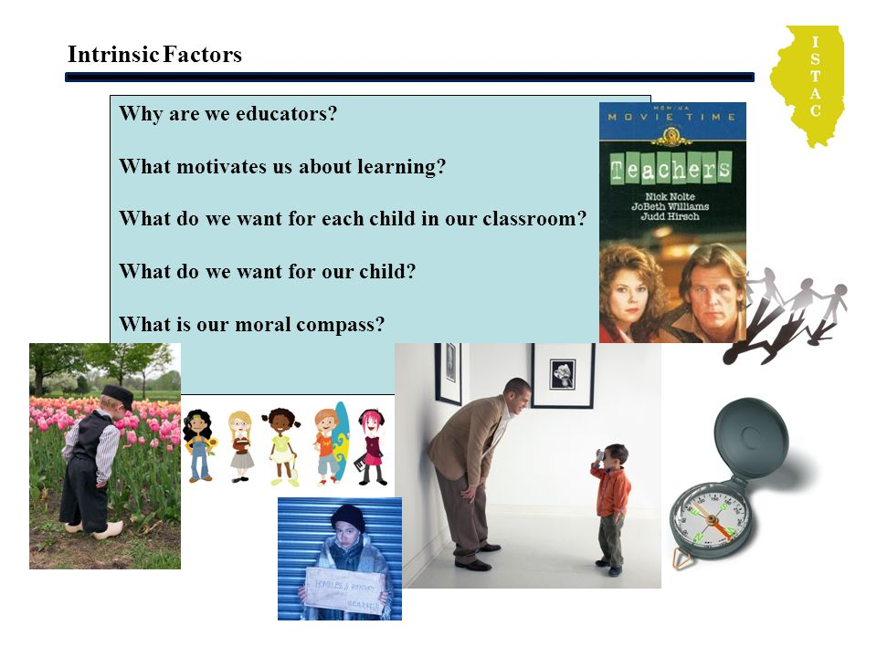 Intrinsic Factors Why are we educators? What motivates us about learning? What do we want for each child in our classroom? What do we want for our chi