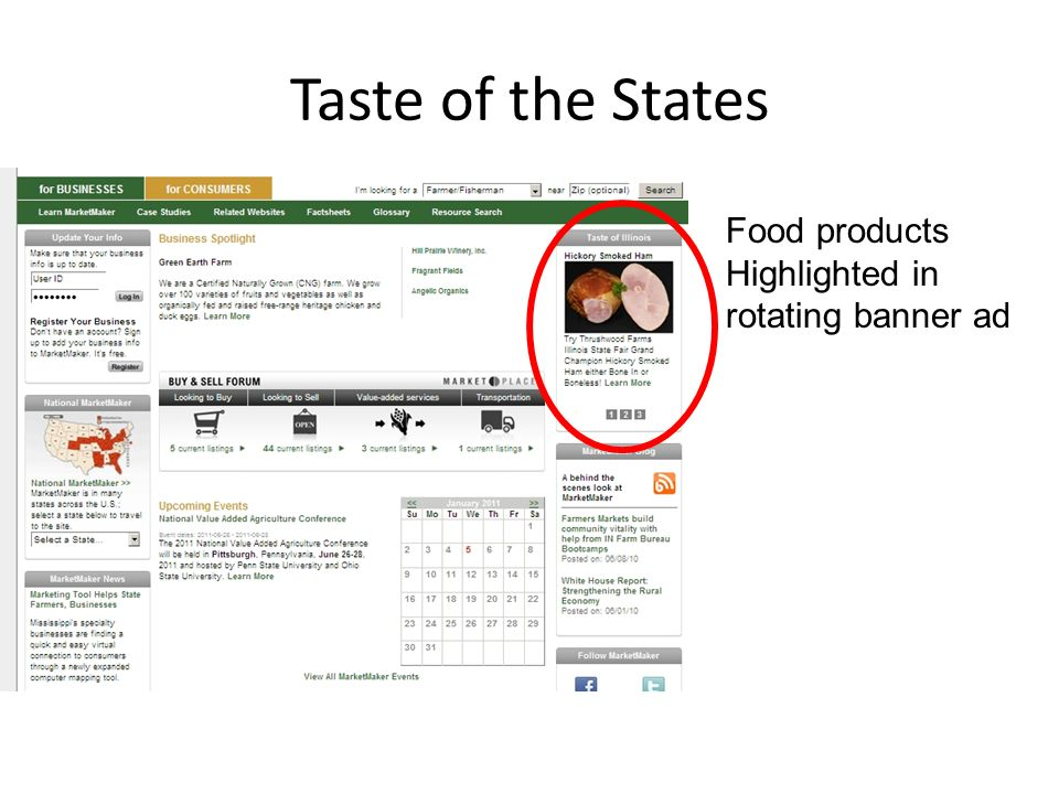 Taste of the States Food products Highlighted in rotating banner ad