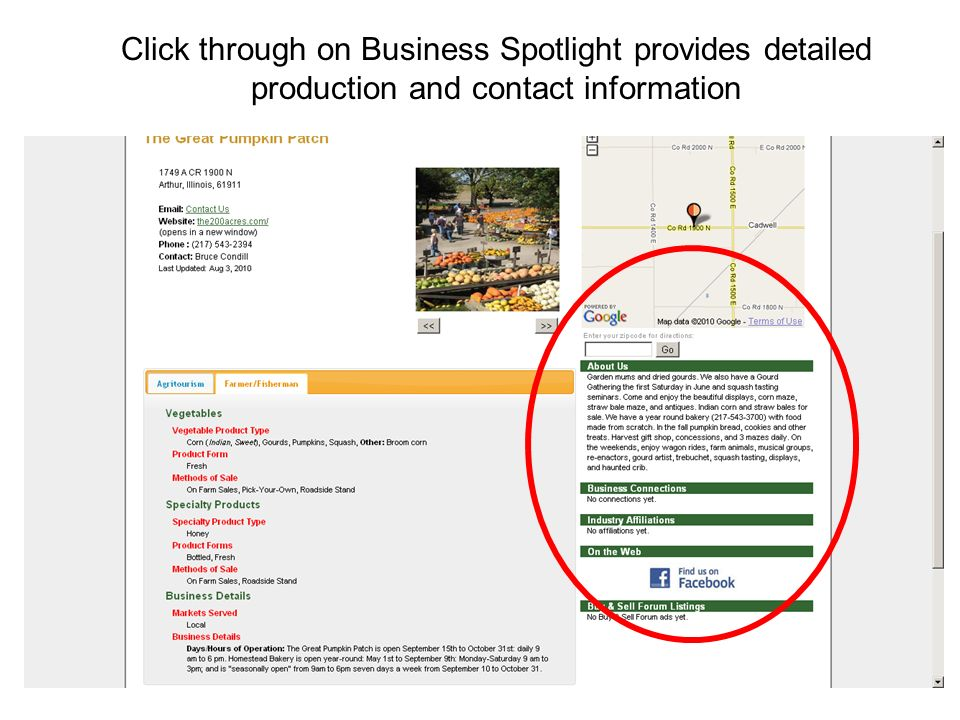Click through on Business Spotlight provides detailed production and contact information