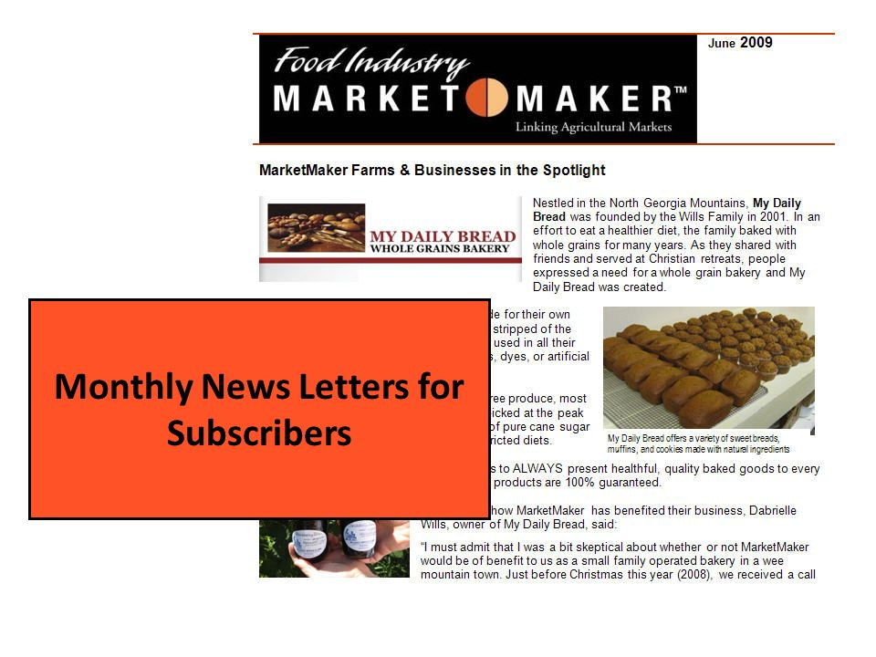 Monthly News Letters for Subscribers