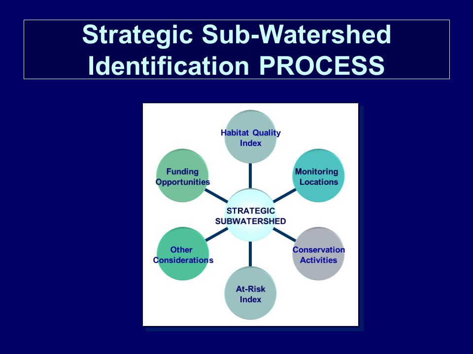 Strategic Sub-Watershed Identification PROCESS STRATEGIC SUBWATERSHED Habitat Quality Index Monitoring Locations Conservation Activities At-Risk Index Other Considerations Funding Opportunities