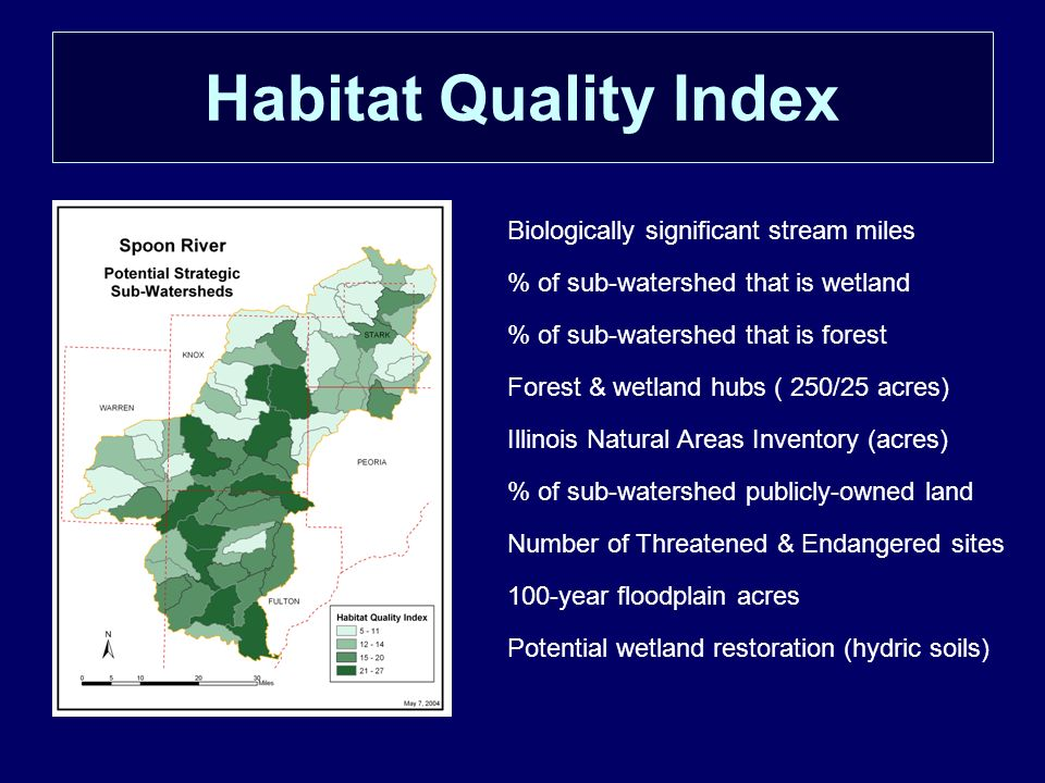 Habitat Quality Index Biologically significant stream miles % of sub-watershed that is wetland % of sub-watershed that is forest Forest & wetland hubs ( 250/25 acres) Illinois Natural Areas Inventory (acres) % of sub-watershed publicly-owned land Number of Threatened & Endangered sites 100-year floodplain acres Potential wetland restoration (hydric soils)