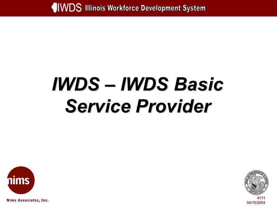 IWDS – IWDS Basic Service Provider 4111 04/19/2004