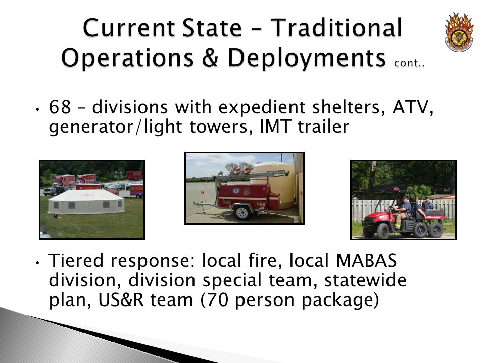 68 – divisions with expedient shelters, ATV, generator/light towers, IMT trailer Tiered response: local fire, local MABAS division, division special team, statewide plan, US&R team (70 person package)