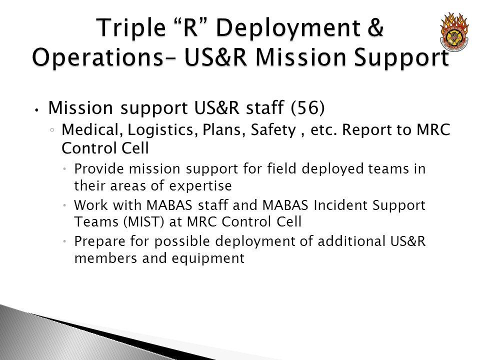 Mission support US&R staff (56) Medical, Logistics, Plans, Safety, etc.