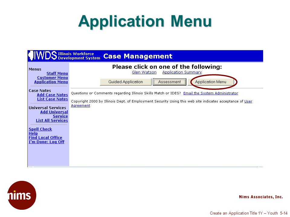 Create an Application Title 1Y – Youth 5-14 Application Menu