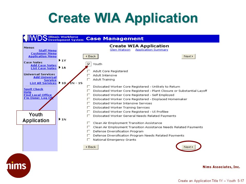 Create an Application Title 1Y – Youth 5-17 Create WIA Application Youth Application