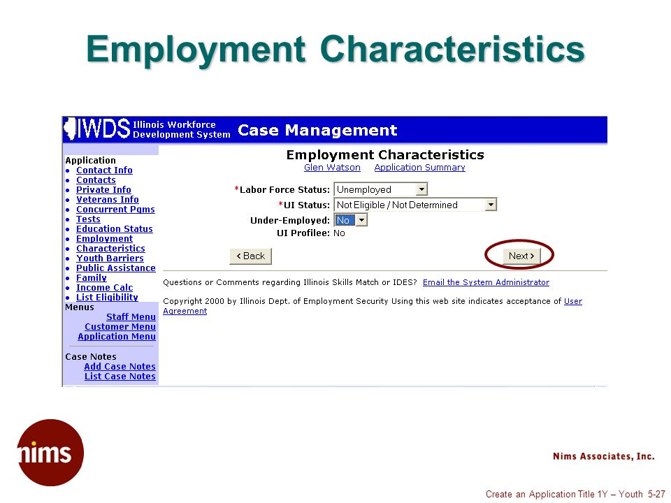 Create an Application Title 1Y – Youth 5-27 Employment Characteristics
