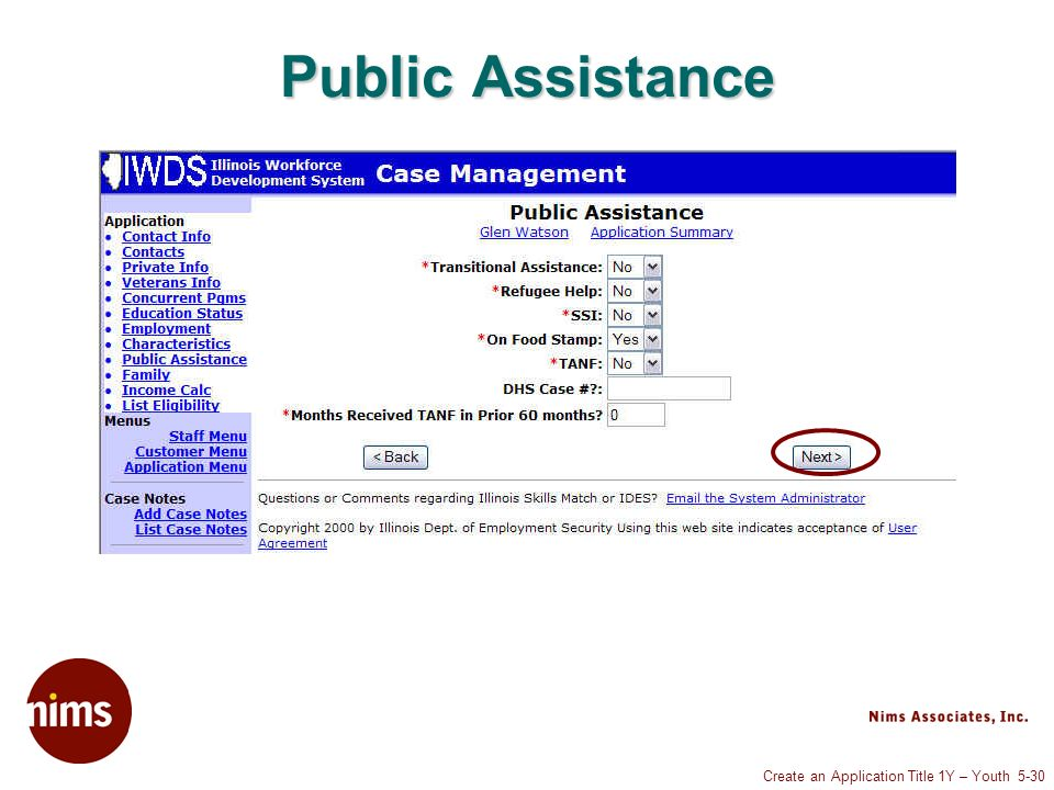 Create an Application Title 1Y – Youth 5-30 Public Assistance