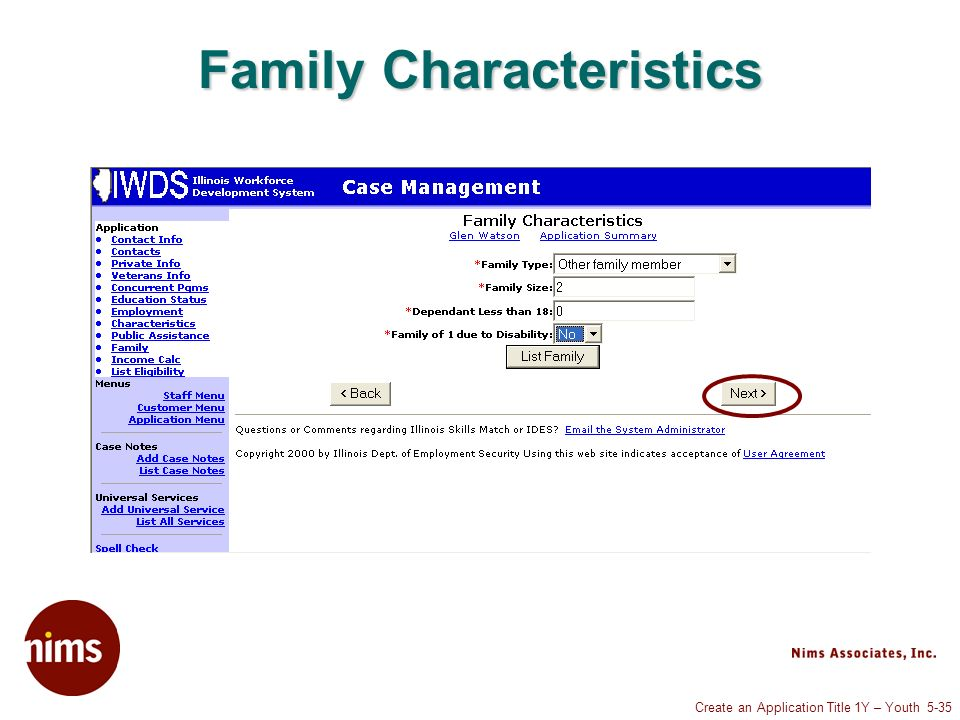 Create an Application Title 1Y – Youth 5-35 Family Characteristics