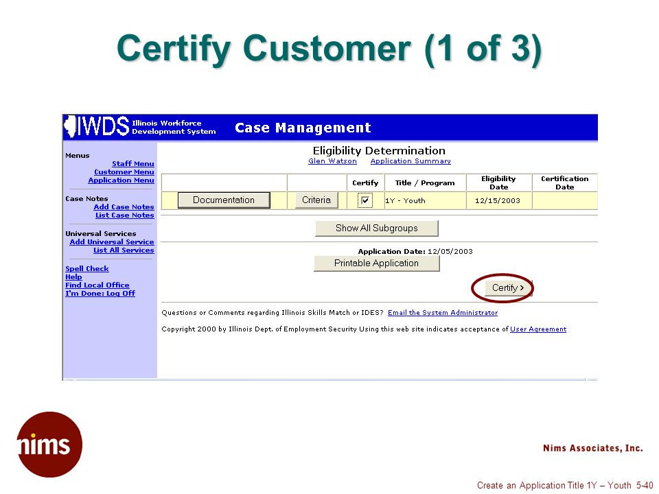 Create an Application Title 1Y – Youth 5-40 Certify Customer (1 of 3)