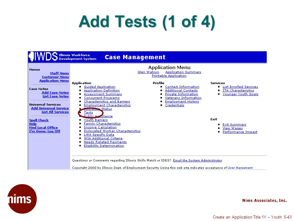 Create an Application Title 1Y – Youth 5-43 Add Tests (1 of 4)