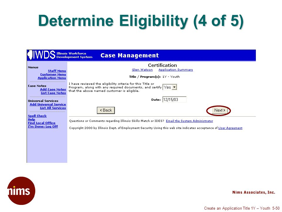 Create an Application Title 1Y – Youth 5-50 Determine Eligibility (4 of 5)