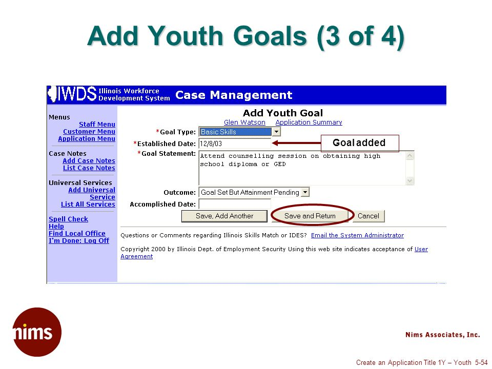 Create an Application Title 1Y – Youth 5-54 Add Youth Goals (3 of 4) Goal added