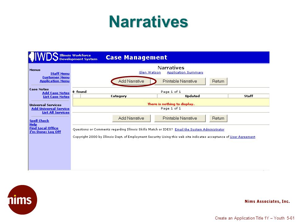 Create an Application Title 1Y – Youth 5-61 Narratives