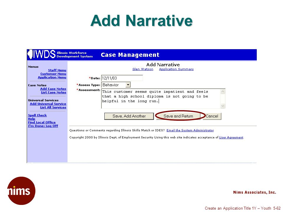Create an Application Title 1Y – Youth 5-62 Add Narrative