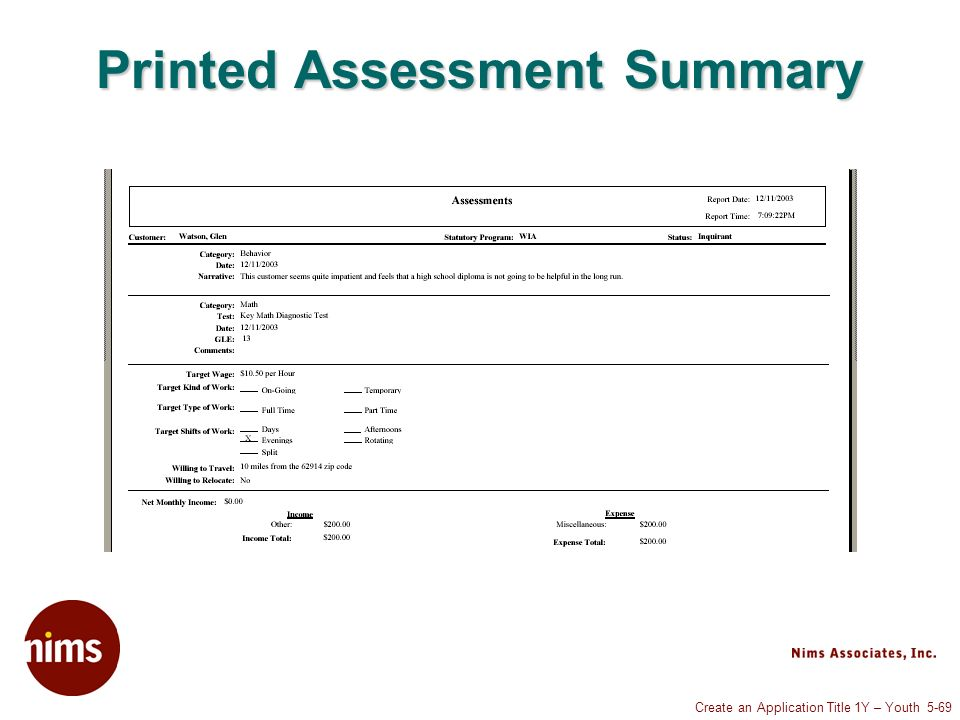 Create an Application Title 1Y – Youth 5-69 Printed Assessment Summary