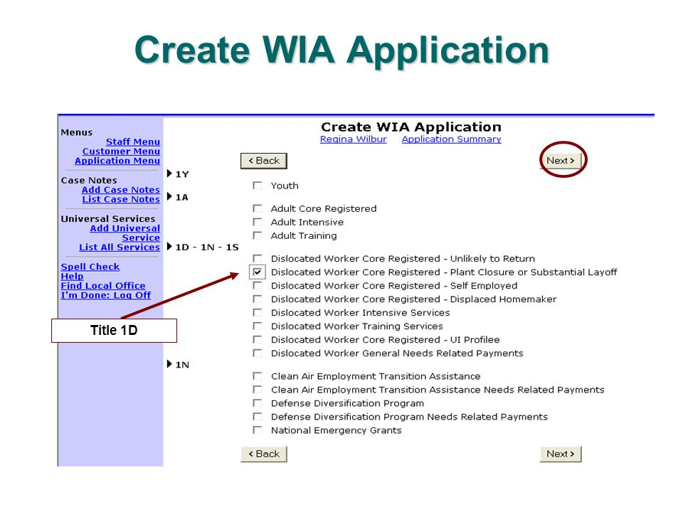 Create WIA Application Title 1D