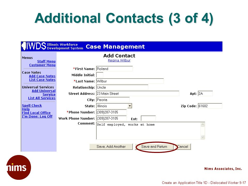 Create an Application Title 1D - Dislocated Worker 9-17 Additional Contacts (3 of 4)