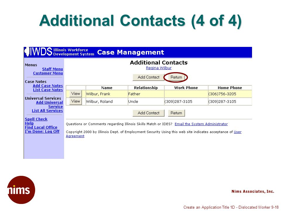 Create an Application Title 1D - Dislocated Worker 9-18 Additional Contacts (4 of 4)
