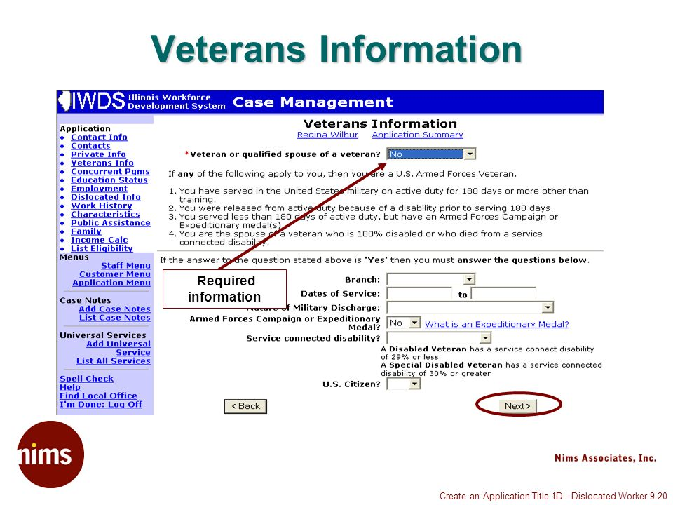 Create an Application Title 1D - Dislocated Worker 9-20 Veterans Information Required information