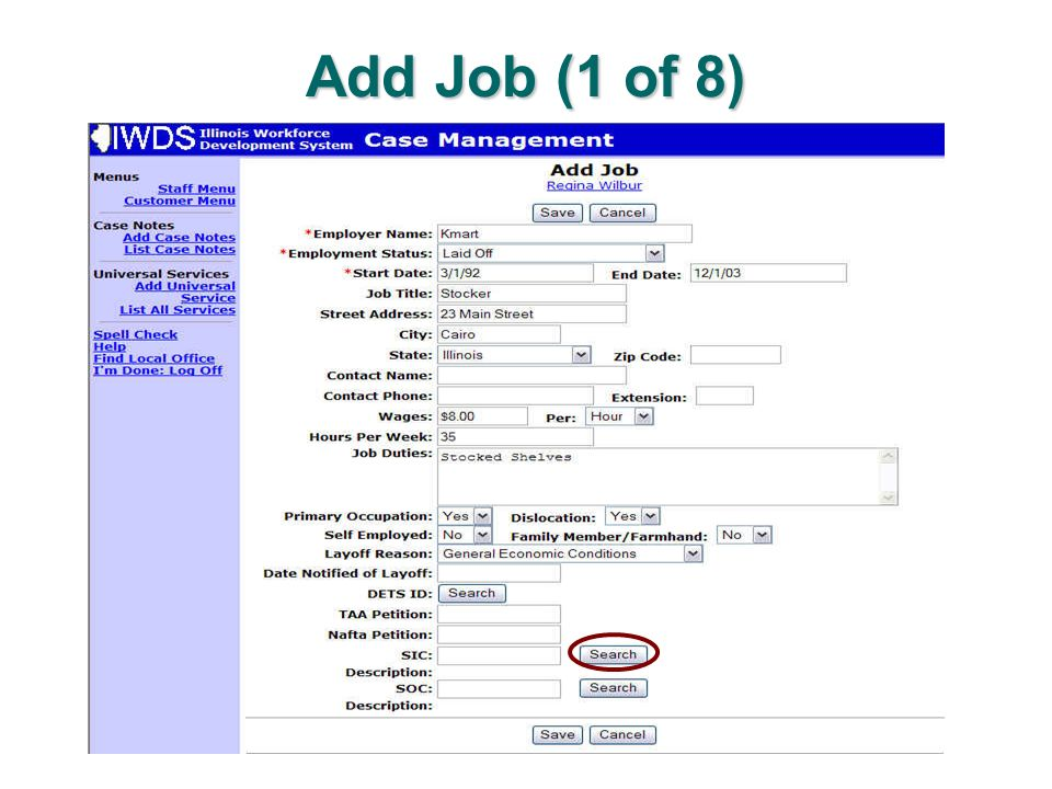 Add Job (1 of 8)