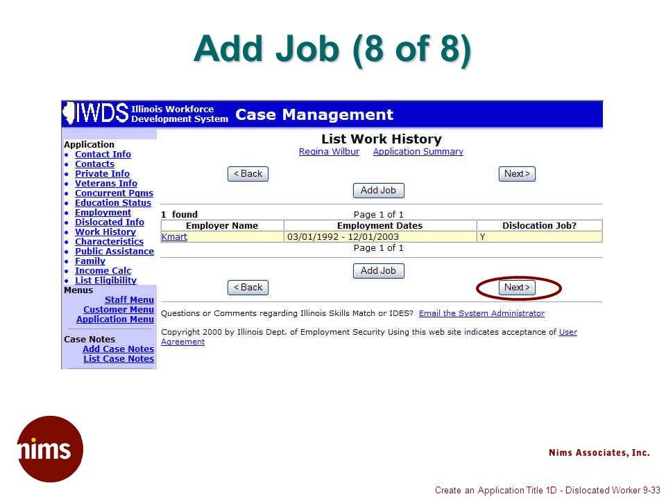 Create an Application Title 1D - Dislocated Worker 9-33 Add Job (8 of 8)