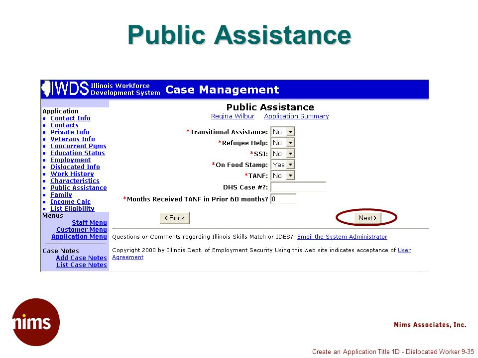 Create an Application Title 1D - Dislocated Worker 9-35 Public Assistance