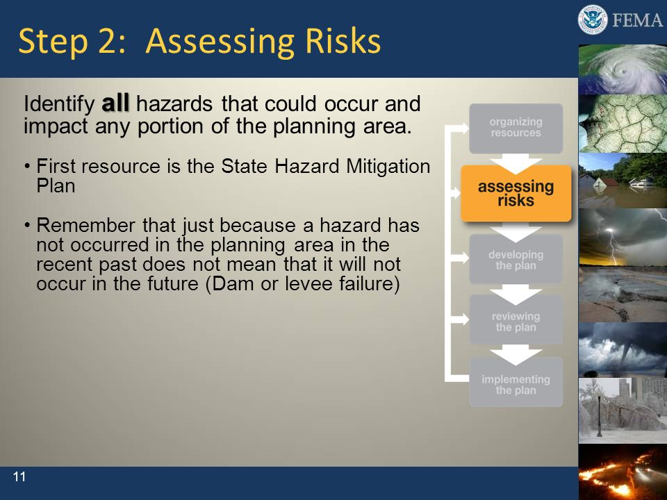 11 Step 2: Assessing Risks all Identify all hazards that could occur and impact any portion of the planning area. First resource is the State Hazard M