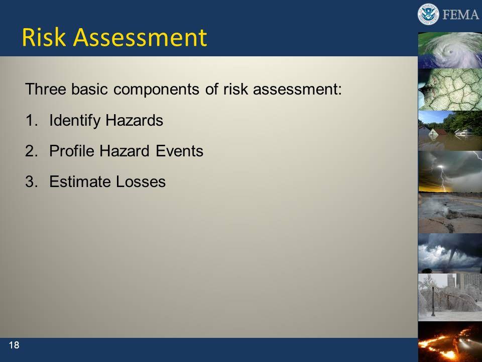 Risk Assessment Three basic components of risk assessment: 1.Identify Hazards 2.Profile Hazard Events 3.Estimate Losses 18