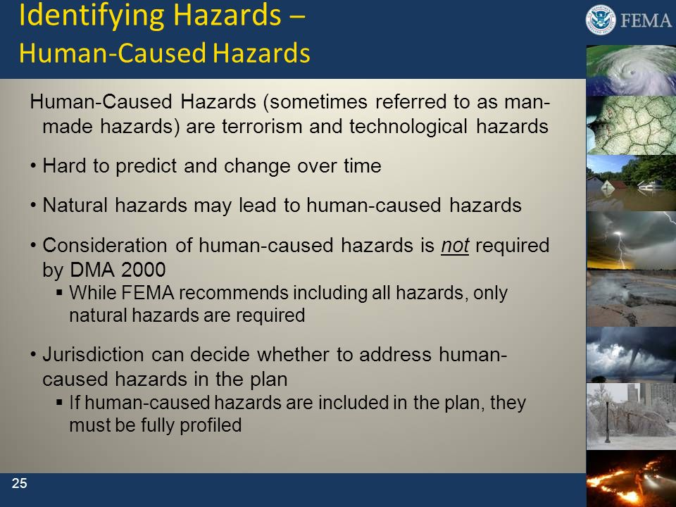 Identifying Hazards – Human-Caused Hazards Human-Caused Hazards (sometimes referred to as man- made hazards) are terrorism and technological hazards H