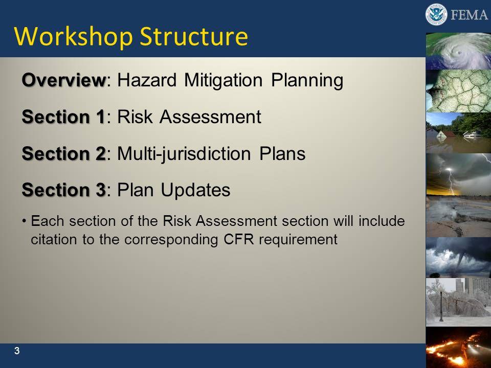 Overview Overview: Hazard Mitigation Planning Section 1 Section 1: Risk Assessment Section 2 Section 2: Multi-jurisdiction Plans Section 3 Section 3:
