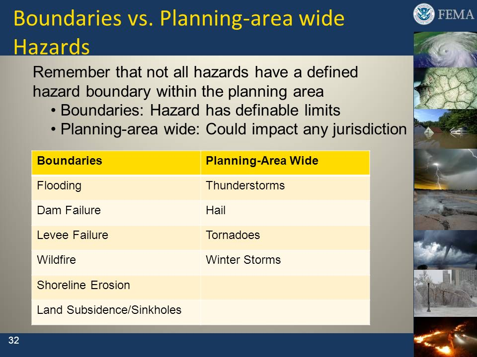 Boundaries vs. Planning-area wide Hazards Remember that not all hazards have a defined hazard boundary within the planning area Boundaries: Hazard has