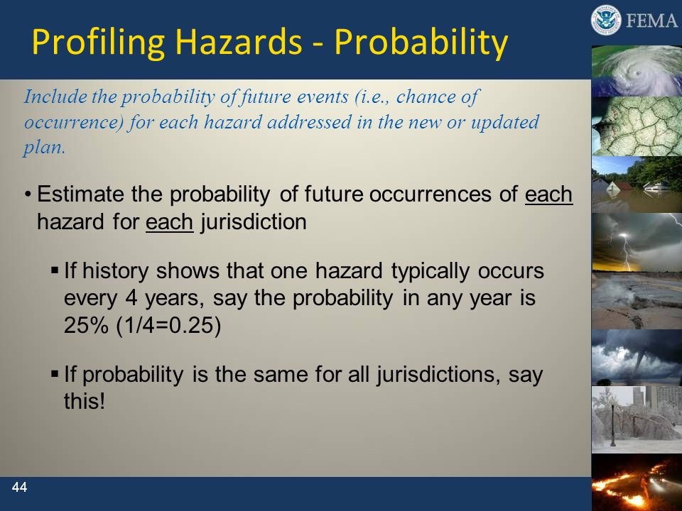 44 Profiling Hazards - Probability Include the probability of future events (i.e., chance of occurrence) for each hazard addressed in the new or updat