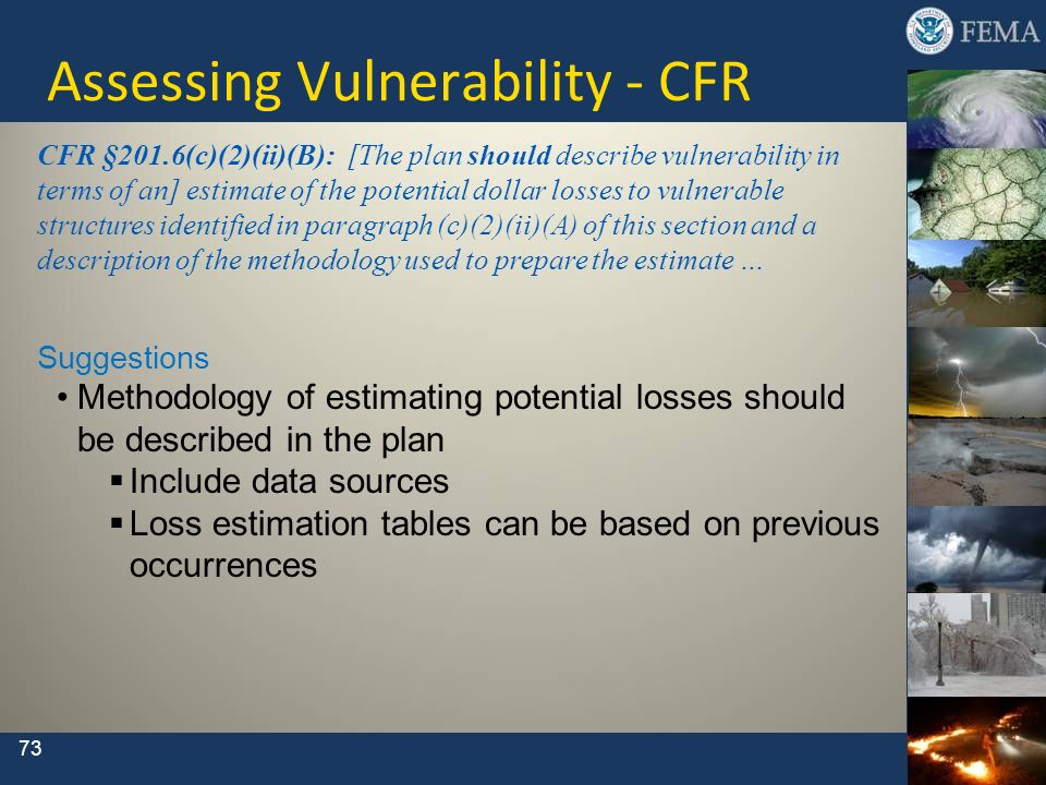 73 CFR §201.6(c)(2)(ii)(B): [The plan should describe vulnerability in terms of an] estimate of the potential dollar losses to vulnerable structures i