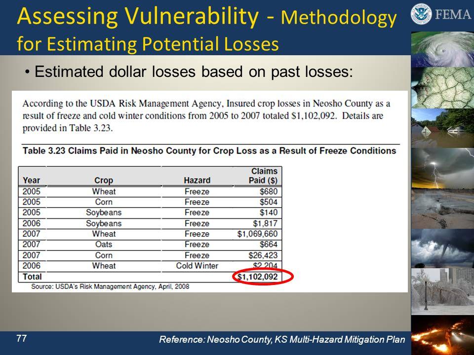 Assessing Vulnerability - Methodology for Estimating Potential Losses Reference: Neosho County, KS Multi-Hazard Mitigation Plan 77 Estimated dollar lo